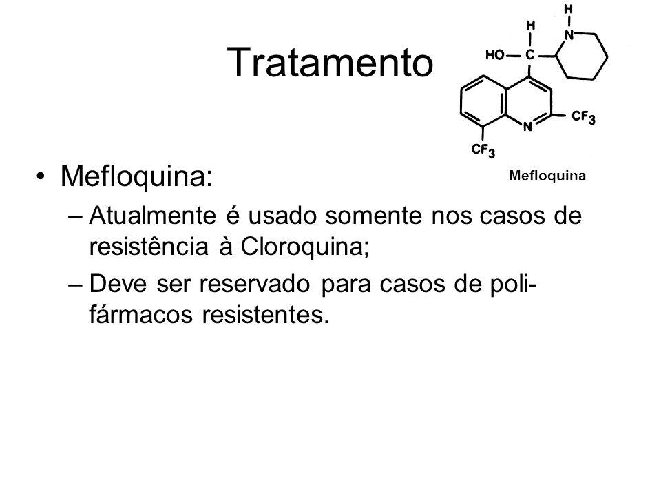 Tratamento •Mefloquina: –Atualmente é usado somente nos casos de resistência à Cloroquina; –Deve ser reservado para casos de poli- fármacos resistente