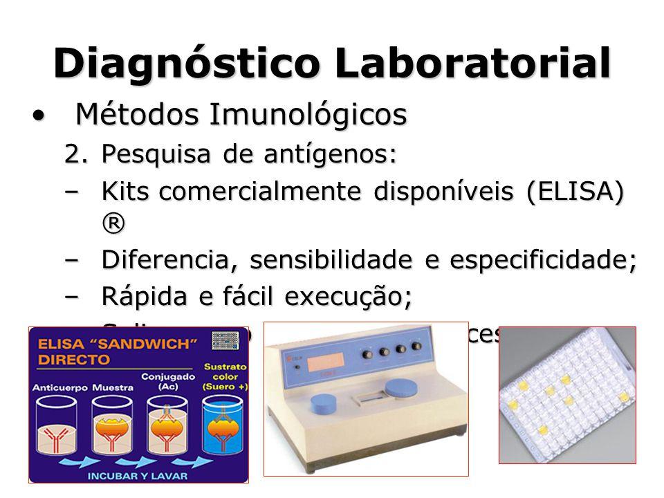 Diagnóstico Laboratorial •Métodos Imunológicos 2.Pesquisa de antígenos: –Kits comercialmente disponíveis (ELISA) ® –Diferencia, sensibilidade e especi