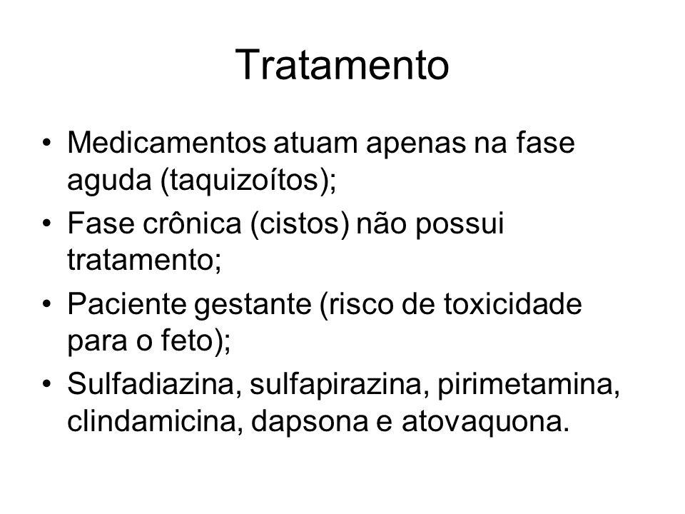 Tratamento •Medicamentos atuam apenas na fase aguda (taquizoítos); •Fase crônica (cistos) não possui tratamento; •Paciente gestante (risco de toxicida