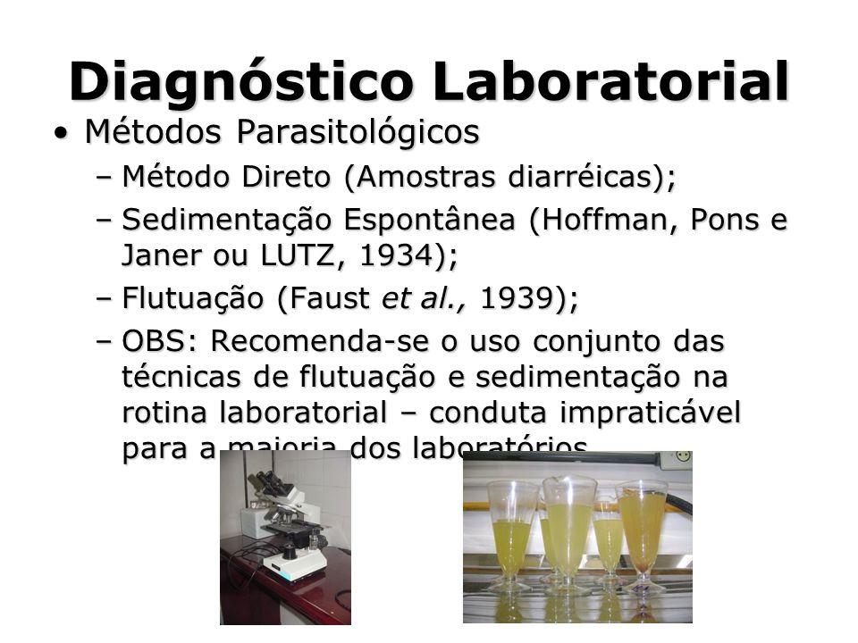 Diagnóstico Laboratorial •Métodos Parasitológicos –Método Direto (Amostras diarréicas); –Sedimentação Espontânea (Hoffman, Pons e Janer ou LUTZ, 1934)