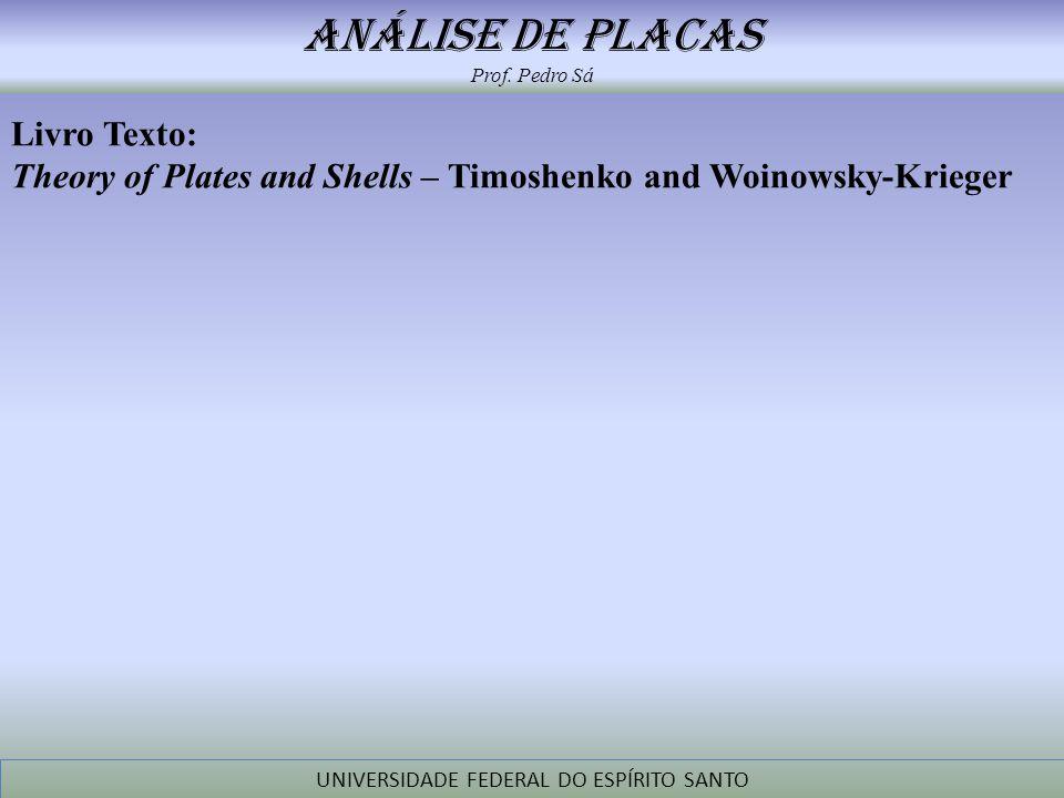 análise de placas Prof. Pedro Sá UNIVERSIDADE FEDERAL DO ESPÍRITO SANTO Livro Texto: Theory of Plates and Shells – Timoshenko and Woinowsky-Krieger