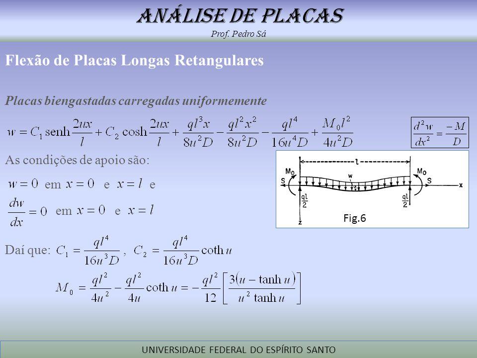 análise de placas Prof. Pedro Sá UNIVERSIDADE FEDERAL DO ESPÍRITO SANTO Flexão de Placas Longas Retangulares Placas biengastadas carregadas uniformeme