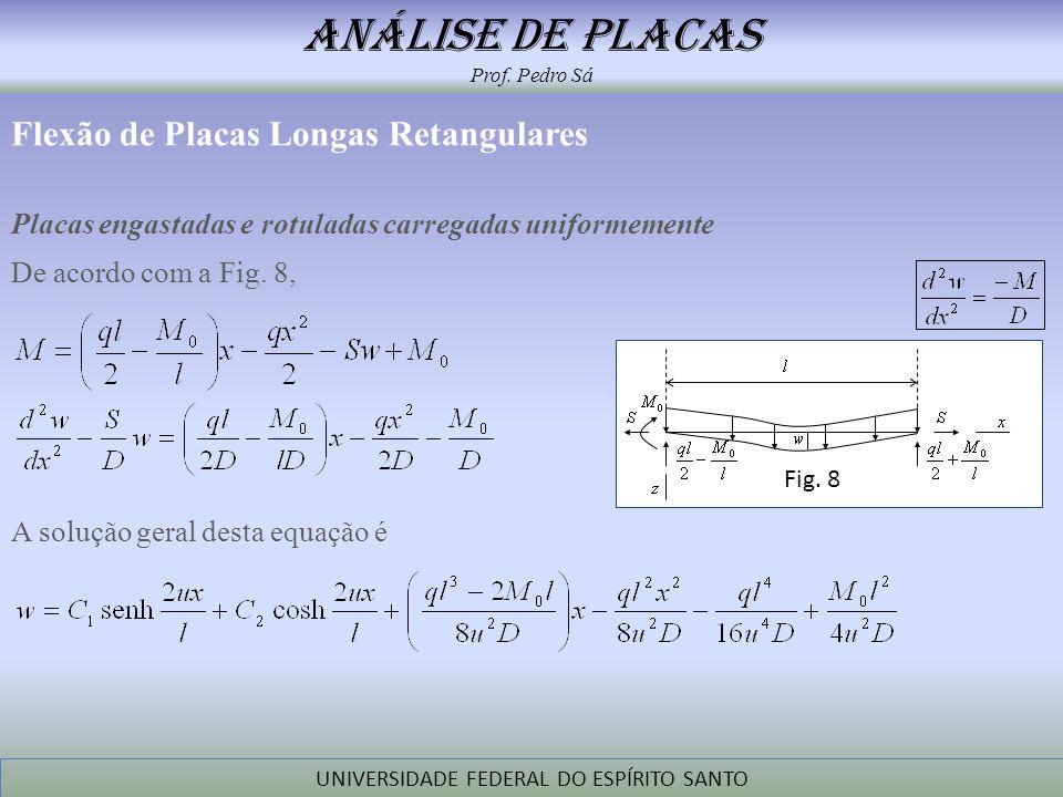 análise de placas Prof. Pedro Sá UNIVERSIDADE FEDERAL DO ESPÍRITO SANTO Flexão de Placas Longas Retangulares Placas engastadas e rotuladas carregadas