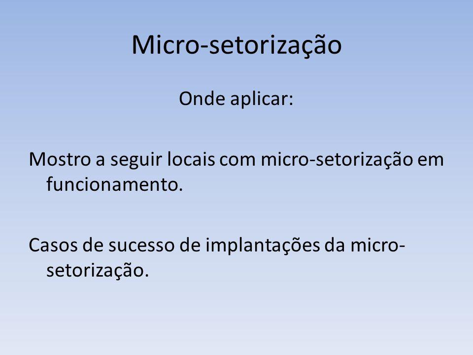Micro-setorização Onde aplicar: Mostro a seguir locais com micro-setorização em funcionamento. Casos de sucesso de implantações da micro- setorização.