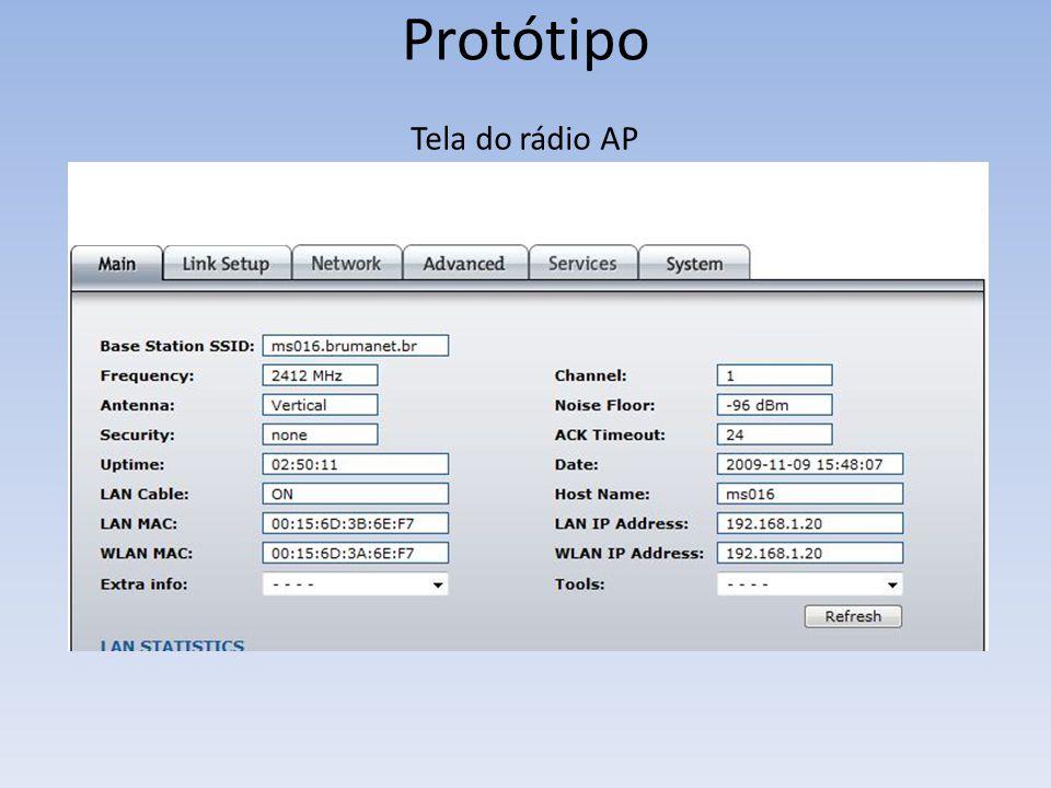 Protótipo Tela do rádio AP