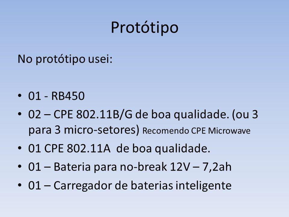 Protótipo No protótipo usei: • 01 - RB450 • 02 – CPE 802.11B/G de boa qualidade. (ou 3 para 3 micro-setores) Recomendo CPE Microwave • 01 CPE 802.11A