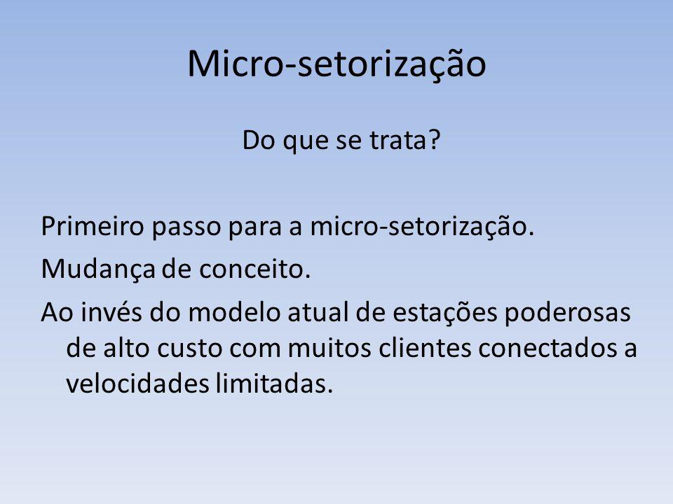 Micro-setorização Do que se trata? Primeiro passo para a micro-setorização. Mudança de conceito. Ao invés do modelo atual de estações poderosas de alt
