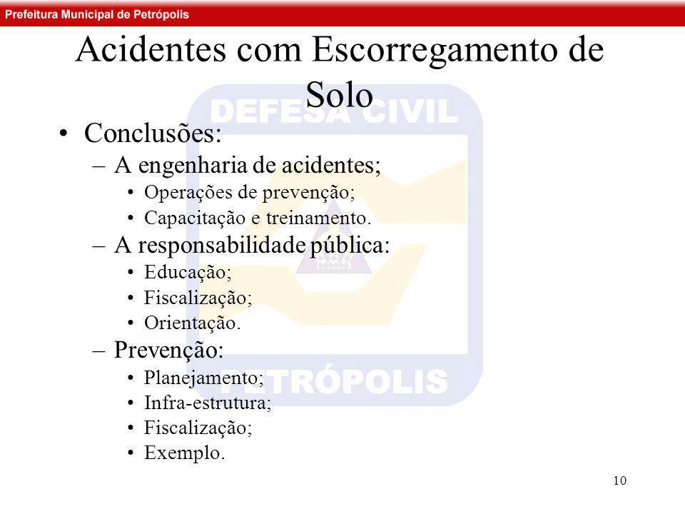 Acidentes com Escorregamento de Solo •Conclusões: –A engenharia de acidentes; •Operações de prevenção; •Capacitação e treinamento. –A responsabilidade