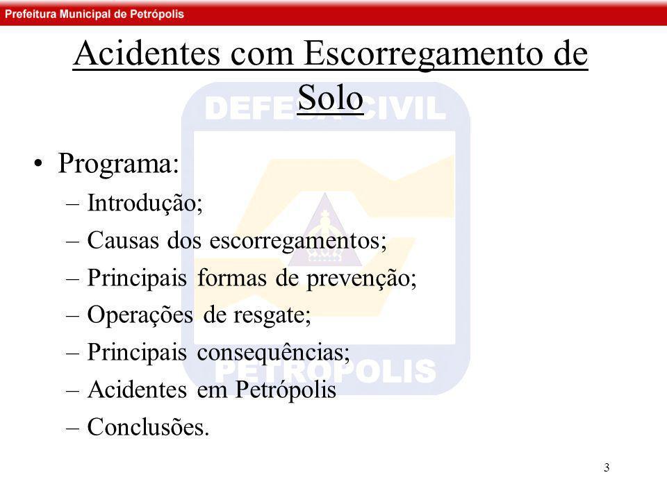 •Programa: –Introdução; –Causas dos escorregamentos; –Principais formas de prevenção; –Operações de resgate; –Principais consequências; –Acidentes em