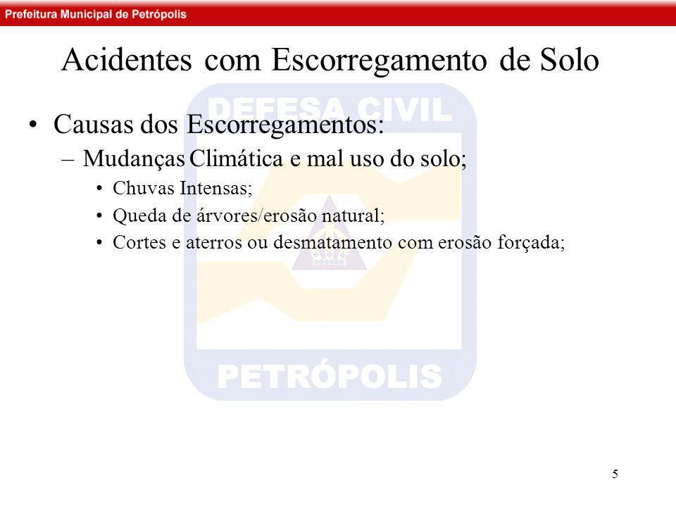 Acidentes com Escorregamento de Solo •Causas dos Escorregamentos: –Mudanças Climática e mal uso do solo; •Chuvas Intensas; •Queda de árvores/erosão na