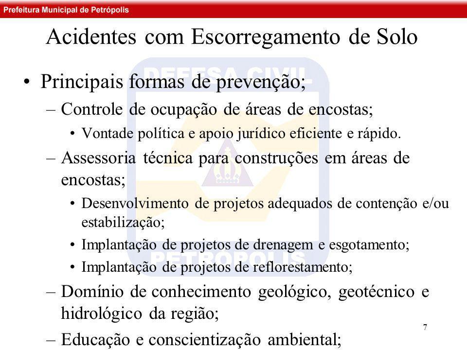 Acidentes com Escorregamento de Solo •Principais formas de prevenção; –Controle de ocupação de áreas de encostas; •Vontade política e apoio jurídico e