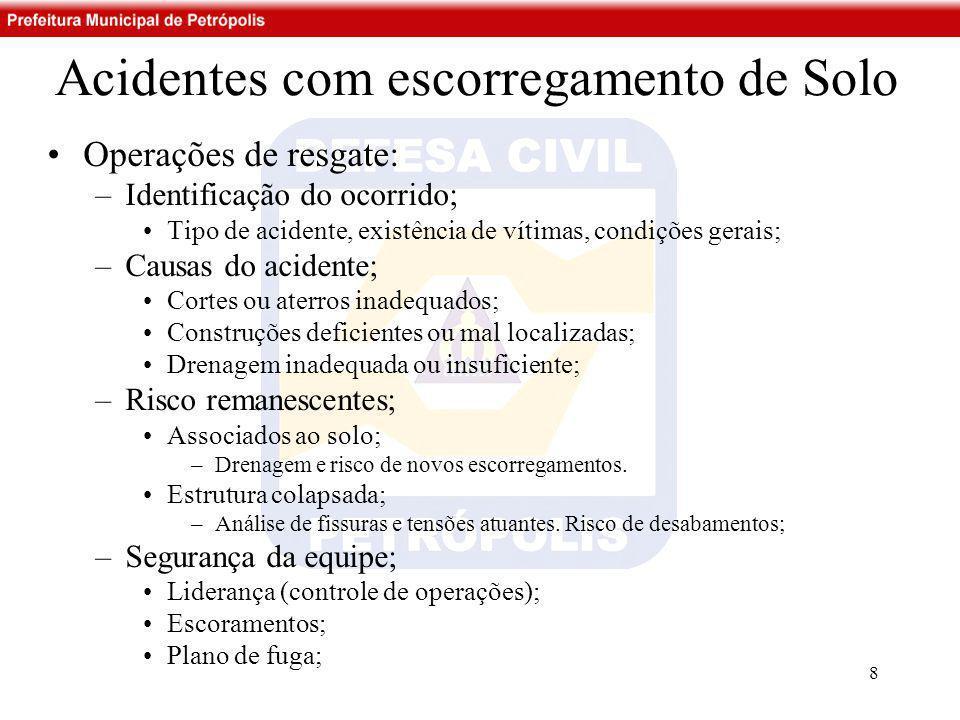 Acidentes com escorregamento de Solo •Operações de resgate: –Identificação do ocorrido; •Tipo de acidente, existência de vítimas, condições gerais; –C