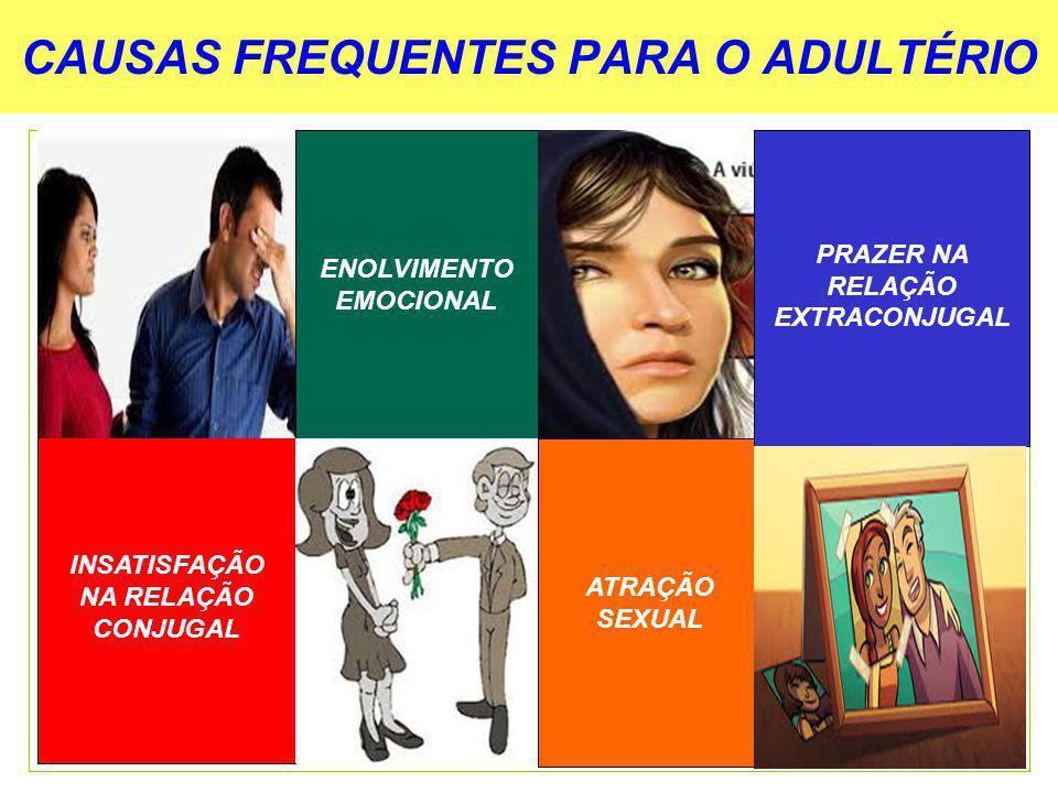 CAUSAS FREQUENTES PARA O ADULTÉRIO INSATISFAÇÃO NA RELAÇÃO CONJUGAL ENOLVIMENTO EMOCIONAL ATRAÇÃO SEXUAL PRAZER NA RELAÇÃO EXTRACONJUGAL