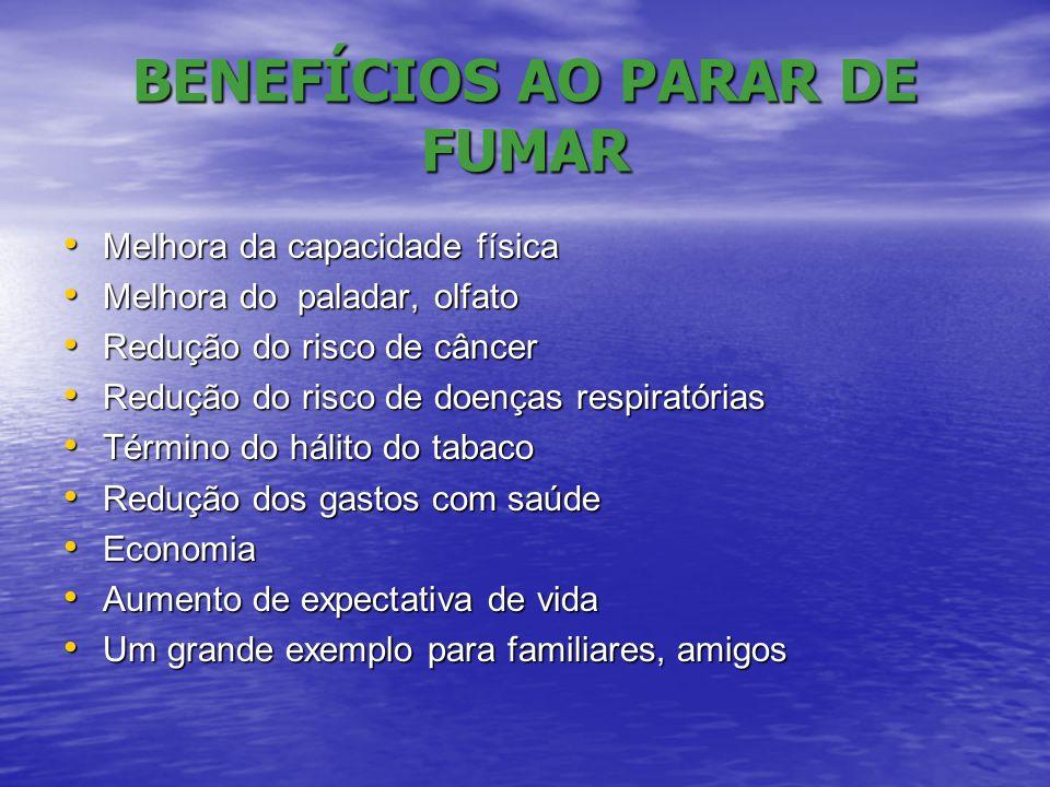 BENEFÍCIOS AO PARAR DE FUMAR • Melhora da capacidade física • Melhora do paladar, olfato • Redução do risco de câncer • Redução do risco de doenças re
