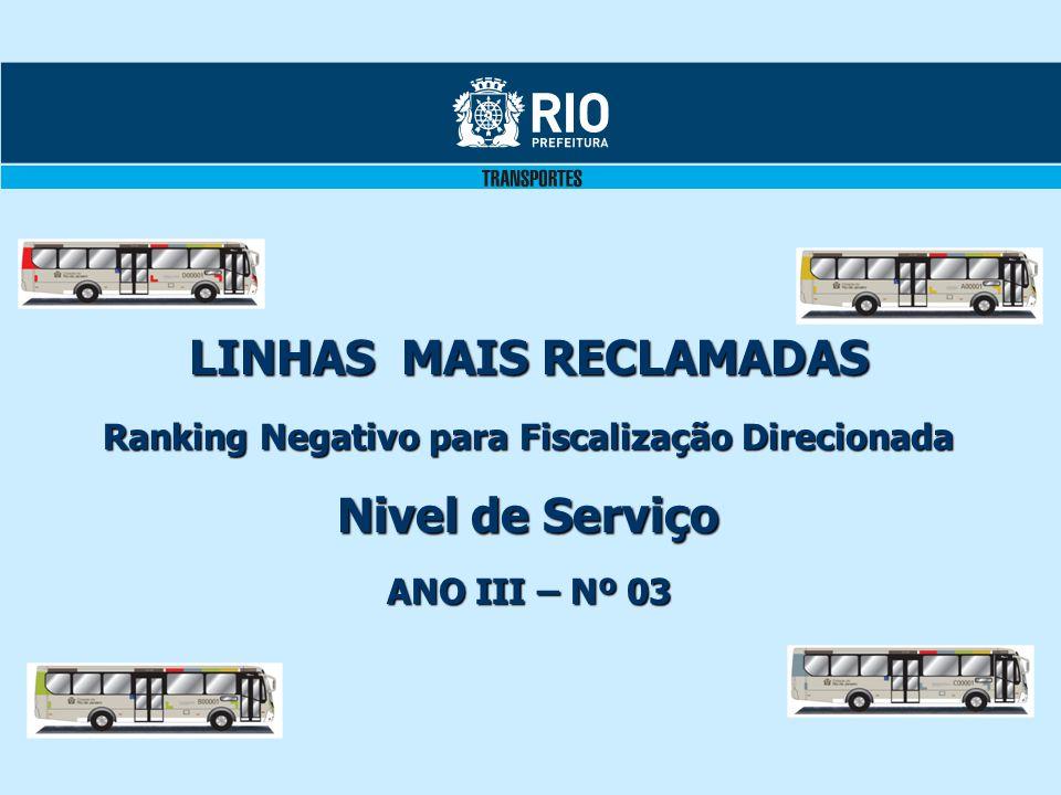 LINHAS MAIS RECLAMADAS Ranking Negativo para Fiscalização Direcionada Nivel de Serviço ANO III – Nº 03