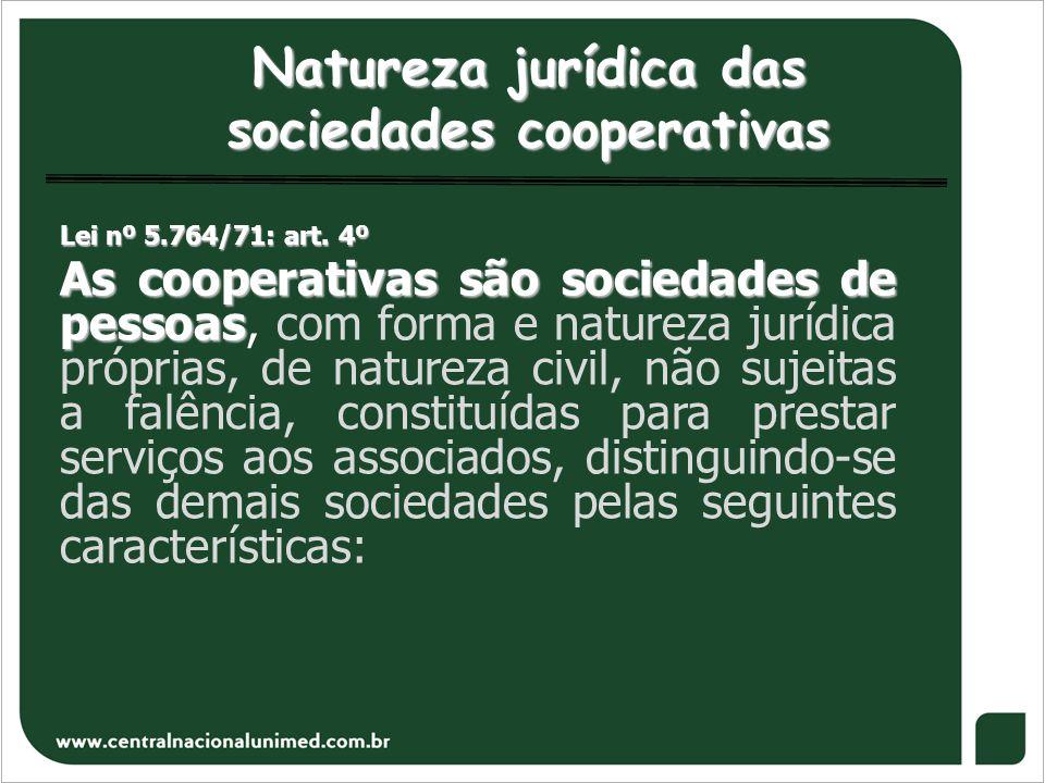 Natureza jurídica das sociedades cooperativas Lei nº 5.764/71: art. 4º As cooperativas são sociedades de pessoas As cooperativas são sociedades de pes