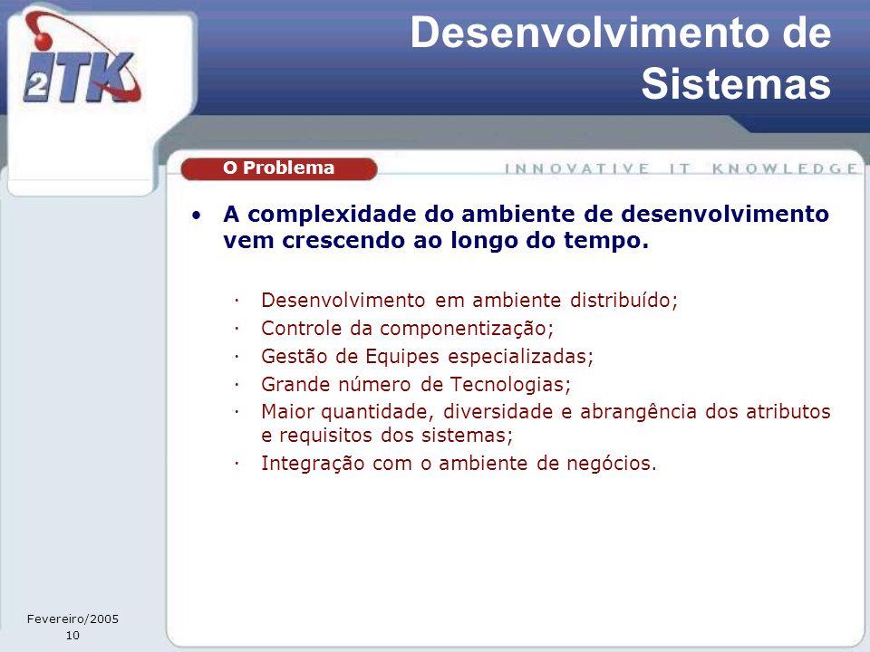 Fevereiro/2005 10 Desenvolvimento de Sistemas •A complexidade do ambiente de desenvolvimento vem crescendo ao longo do tempo.