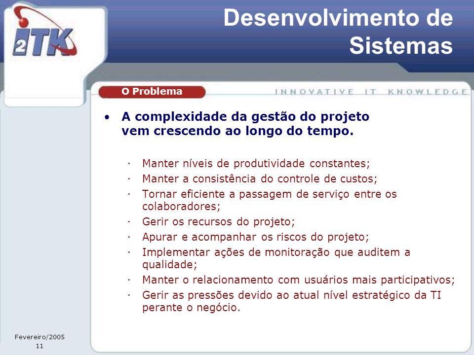 Fevereiro/2005 11 •A complexidade da gestão do projeto vem crescendo ao longo do tempo.