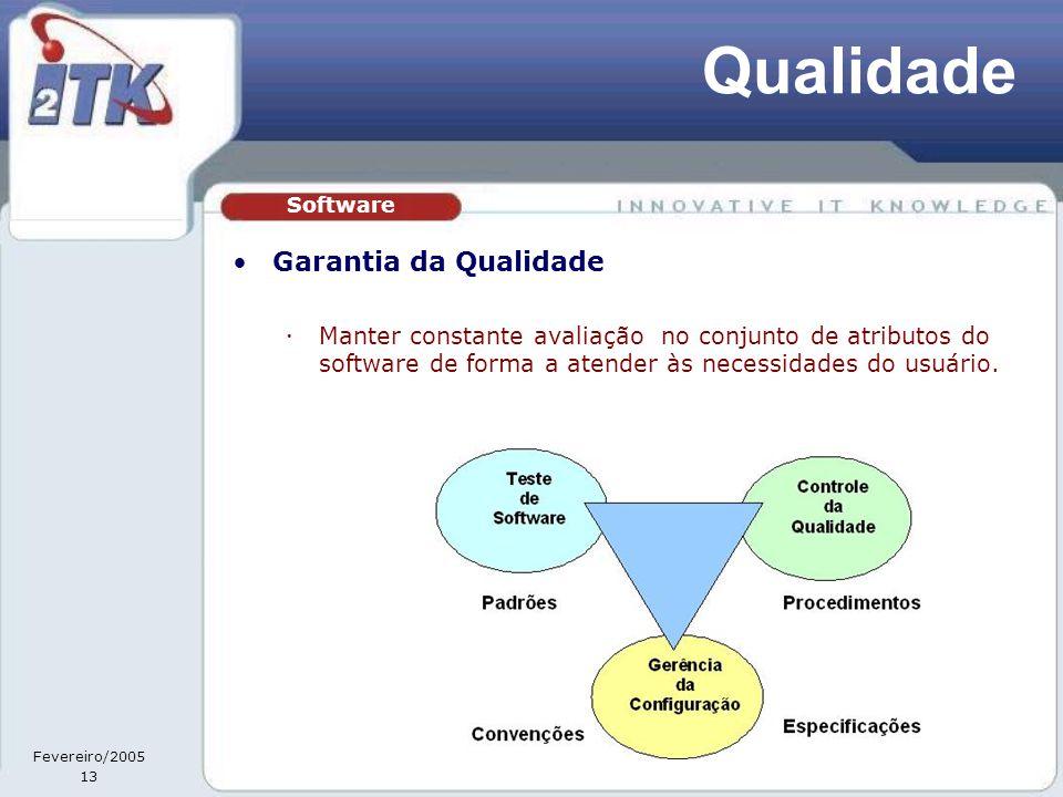 Fevereiro/2005 13 Qualidade •Garantia da Qualidade  Manter constante avaliação no conjunto de atributos do software de forma a atender às necessidades do usuário.