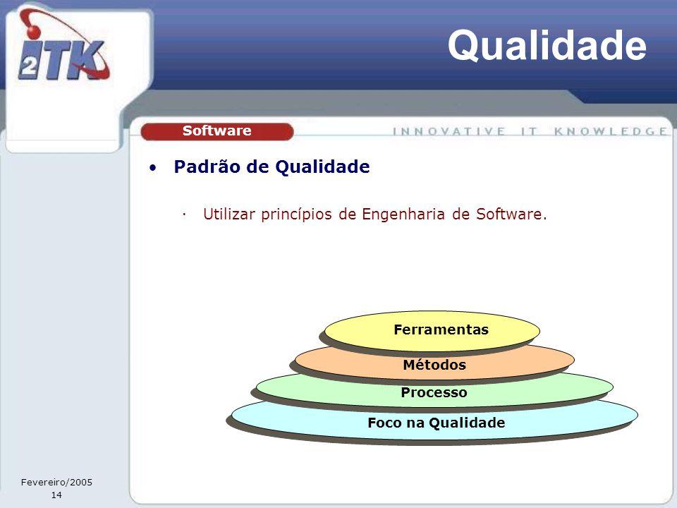 Fevereiro/2005 14 Qualidade •Padrão de Qualidade  Utilizar princípios de Engenharia de Software.