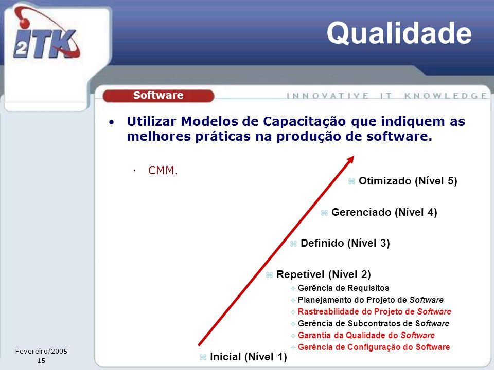 Fevereiro/2005 15 Qualidade •Utilizar Modelos de Capacitação que indiquem as melhores práticas na produção de software.