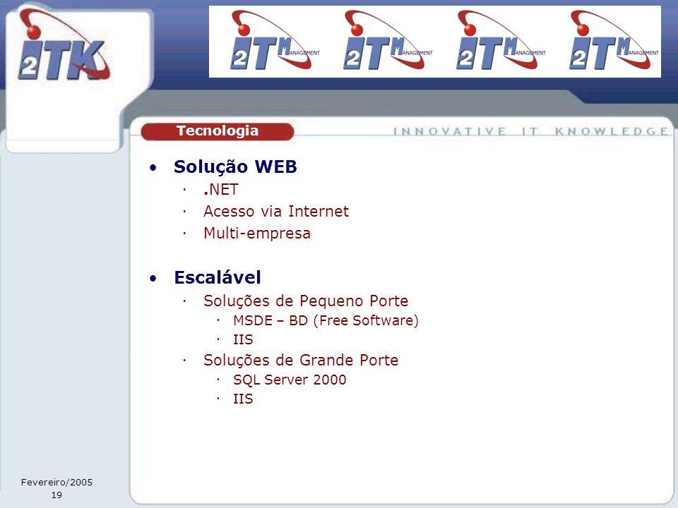 Fevereiro/2005 19 •Solução WEB .NET  Acesso via Internet  Multi-empresa •Escalável  Soluções de Pequeno Porte  MSDE – BD (Free Software)  IIS  Soluções de Grande Porte  SQL Server 2000  IIS Tecnologia