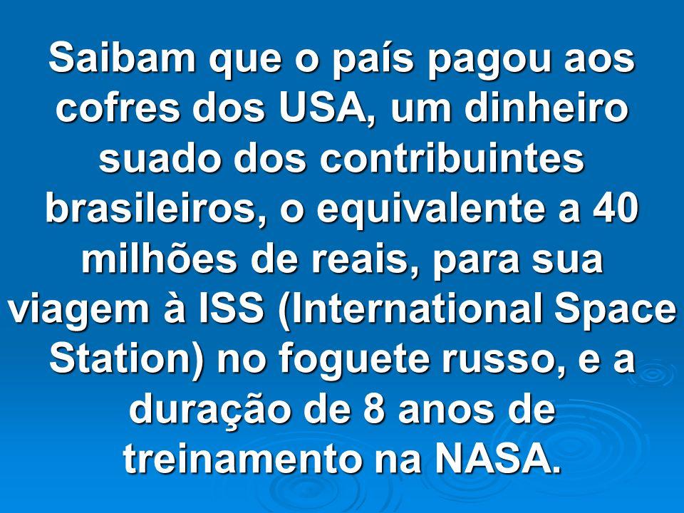 Já sabemos de cor, que o futuro Senador Marcos Pontes, será mais um político ganancioso e safado, igual aos milhares que infestam este país com essa p