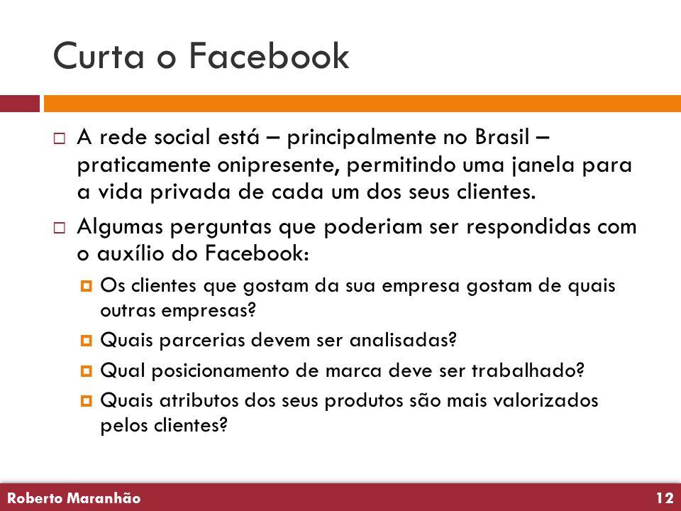 Roberto Maranhão12 Roberto Maranhão12 Curta o Facebook  A rede social está – principalmente no Brasil – praticamente onipresente, permitindo uma jane