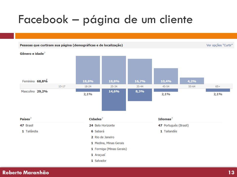 Roberto Maranhão13 Roberto Maranhão13 Facebook – página de um cliente