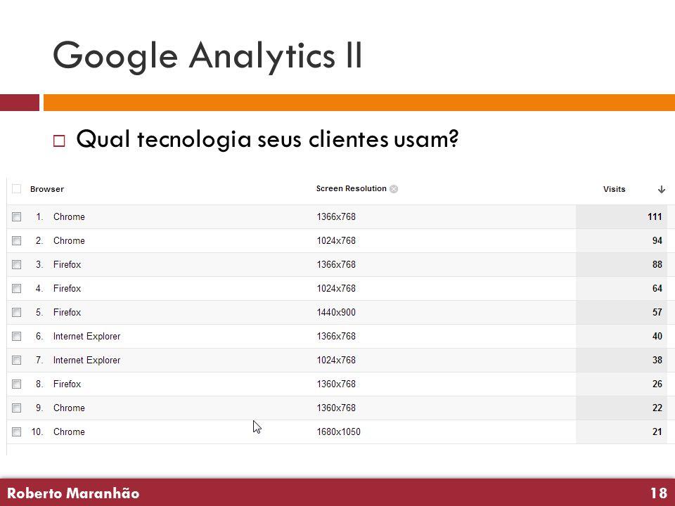 Roberto Maranhão18 Roberto Maranhão18 Google Analytics II  Qual tecnologia seus clientes usam
