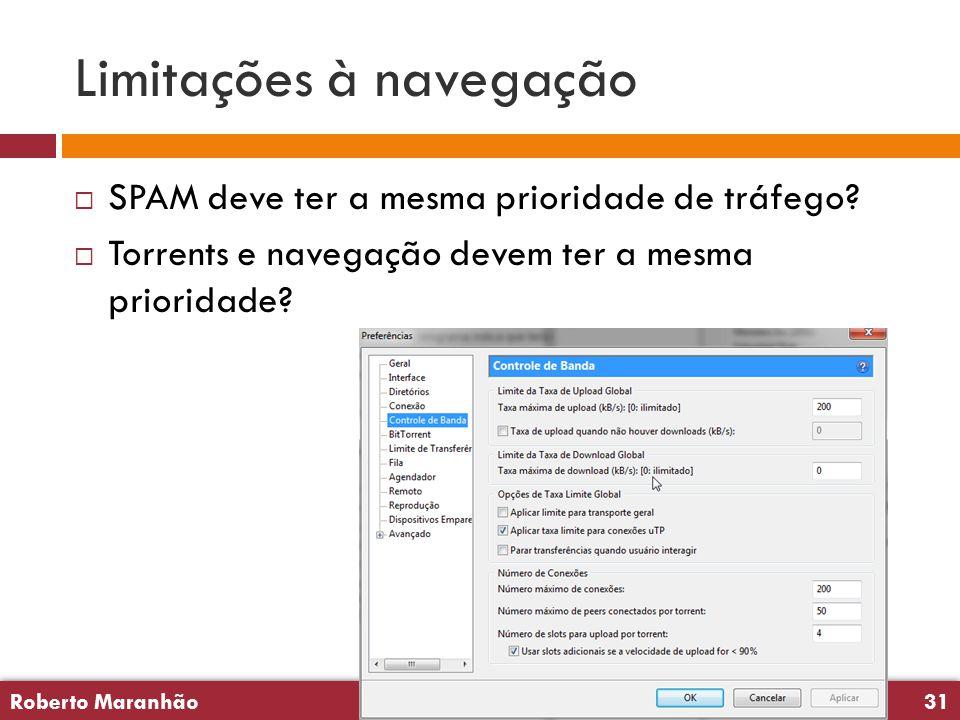 Roberto Maranhão31 Roberto Maranhão31 Limitações à navegação  SPAM deve ter a mesma prioridade de tráfego.