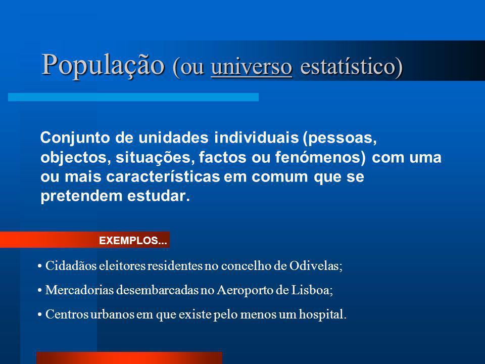 População (ou universo estatístico) Conjunto de unidades individuais (pessoas, objectos, situações, factos ou fenómenos) com uma ou mais característic