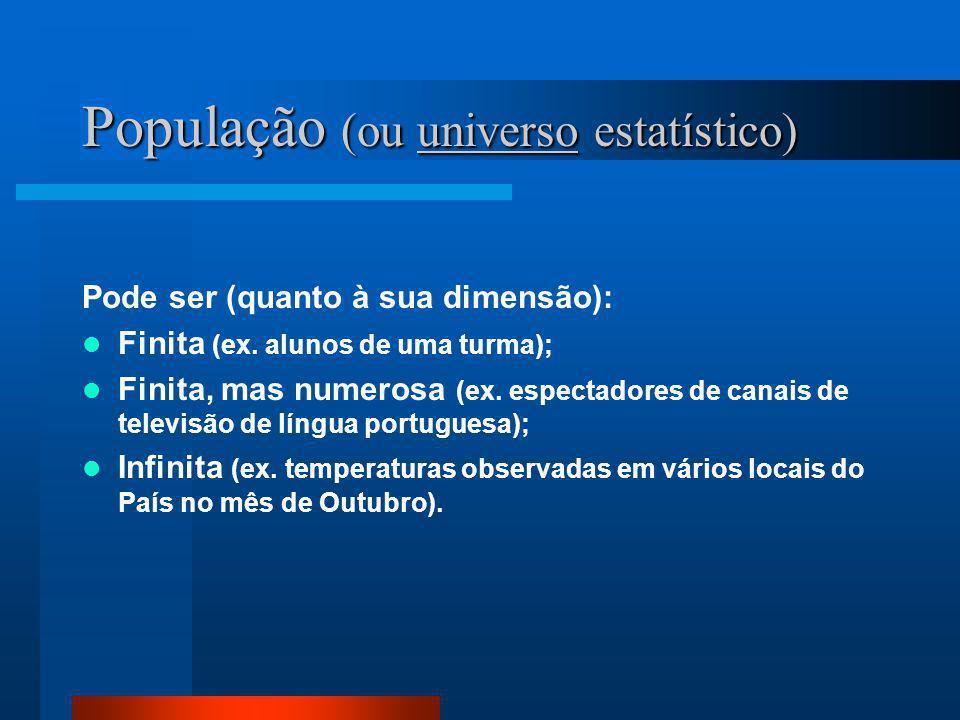 População (ou universo estatístico) Pode ser (quanto à sua dimensão):  Finita (ex. alunos de uma turma);  Finita, mas numerosa (ex. espectadores de