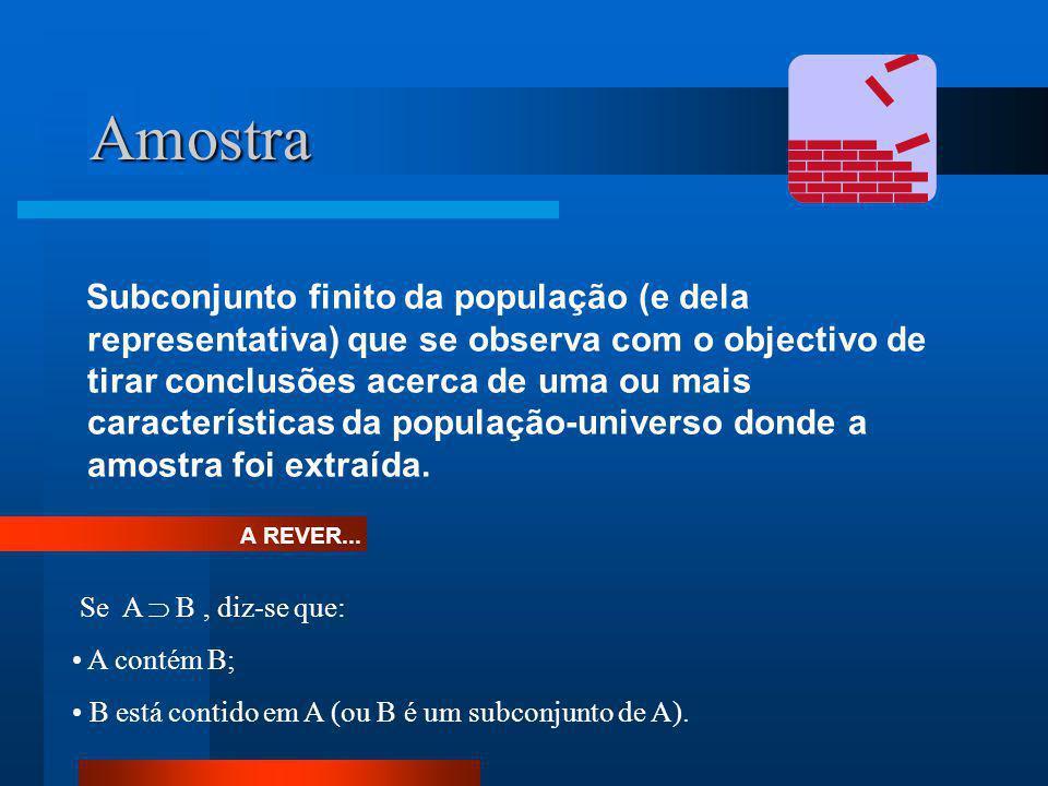 Amostra Subconjunto finito da população (e dela representativa) que se observa com o objectivo de tirar conclusões acerca de uma ou mais característic