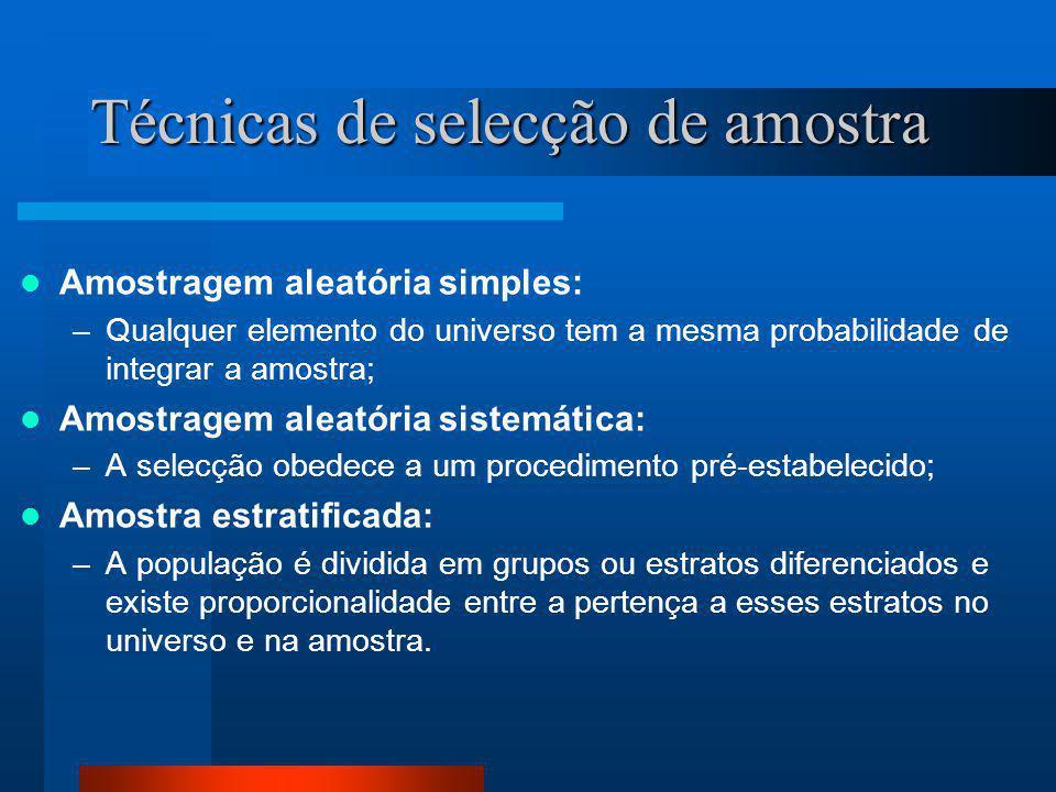 Técnicas de selecção de amostra  Amostragem aleatória simples: –Qualquer elemento do universo tem a mesma probabilidade de integrar a amostra;  Amos