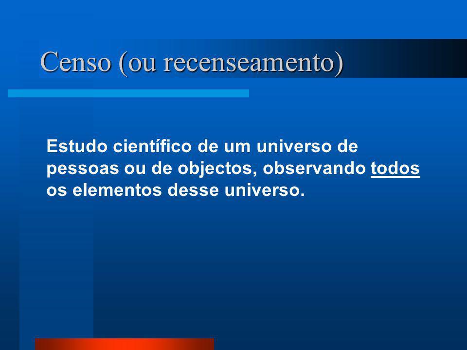Censo (ou recenseamento) Estudo científico de um universo de pessoas ou de objectos, observando todos os elementos desse universo.