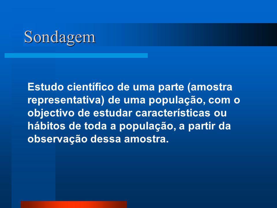 Sondagem Estudo científico de uma parte (amostra representativa) de uma população, com o objectivo de estudar características ou hábitos de toda a pop