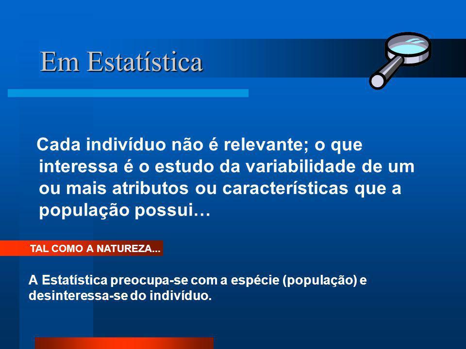 Em Estatística Cada indivíduo não é relevante; o que interessa é o estudo da variabilidade de um ou mais atributos ou características que a população