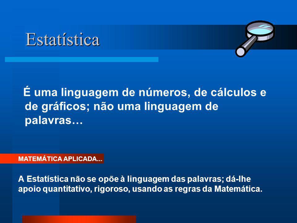 Estatística É uma linguagem de números, de cálculos e de gráficos; não uma linguagem de palavras… A Estatística não se opõe à linguagem das palavras;