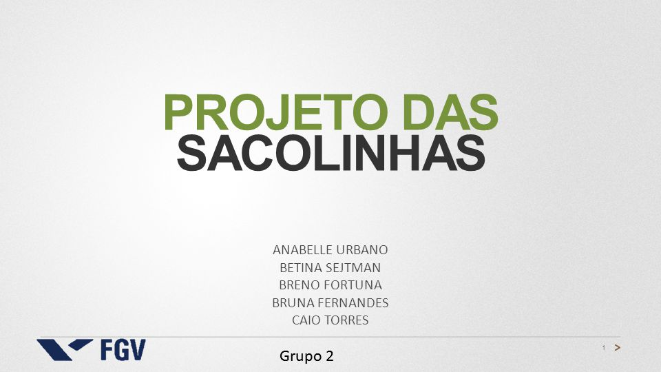 1 Grupo 2 PROJETO DAS SACOLINHAS ANABELLE URBANO BETINA SEJTMAN BRENO FORTUNA BRUNA FERNANDES CAIO TORRES Grupo 2