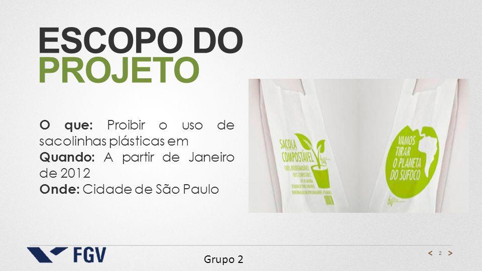 2 ESCOPO DO PROJETO O que: Proibir o uso de sacolinhas plásticas em Quando: A partir de Janeiro de 2012 Onde: Cidade de São Paulo