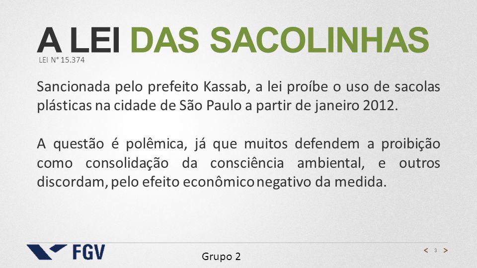 3 Grupo 2 A LEI DAS SACOLINHAS LEI N° 15.374 Sancionada pelo prefeito Kassab, a lei proíbe o uso de sacolas plásticas na cidade de São Paulo a partir