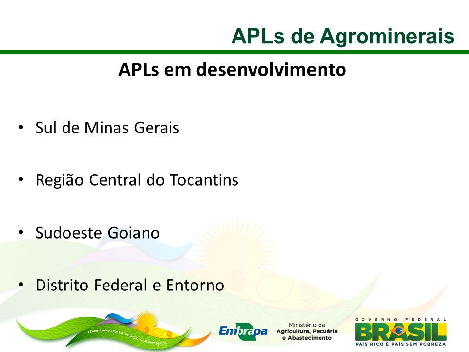 APLs em desenvolvimento • Sul de Minas Gerais • Região Central do Tocantins • Sudoeste Goiano • Distrito Federal e Entorno APLs de Agrominerais