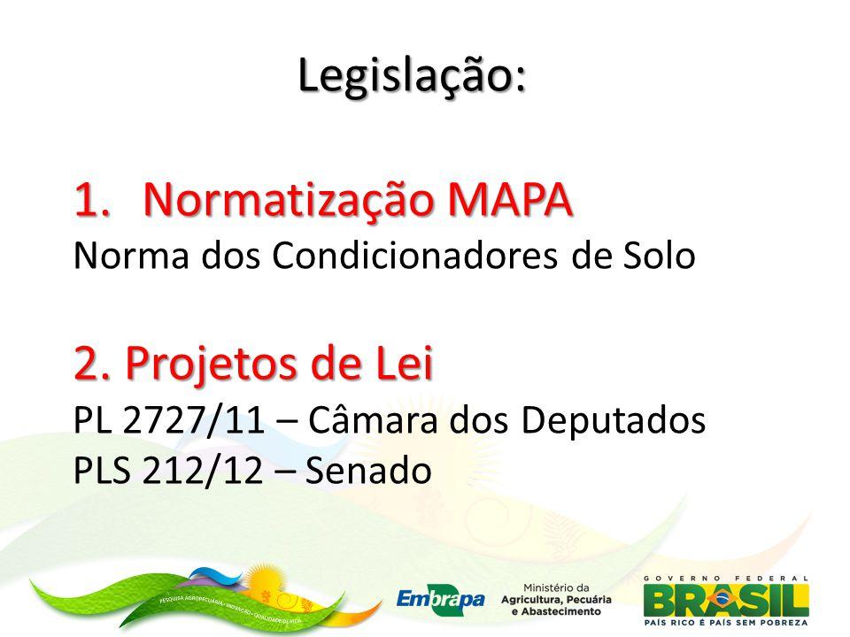 Legislação: 1.Normatização MAPA Norma dos Condicionadores de Solo 2.
