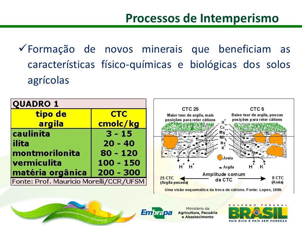  Formação de novos minerais que beneficiam as características físico-químicas e biológicas dos solos agrícolas Processos de Intemperismo
