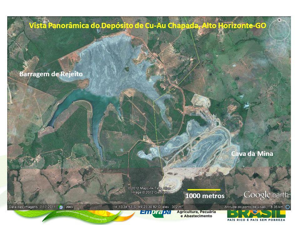 Vista Panorâmica do Depósito de Cu-Au Chapada, Alto Horizonte-GO Barragem de Rejeito Cava da Mina 1000 metros