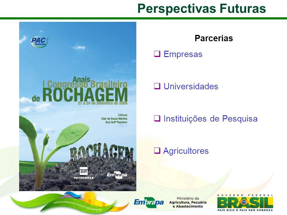 Perspectivas Futuras Parcerias  Empresas  Universidades  Instituições de Pesquisa  Agricultores