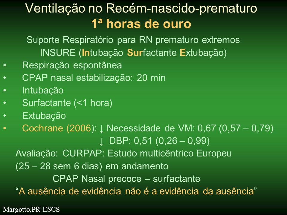Suporte Respiratório para RN prematuro extremos INSURE (Intubação Surfactante Extubação) •Respiração espontânea •CPAP nasal estabilização: 20 min •Int