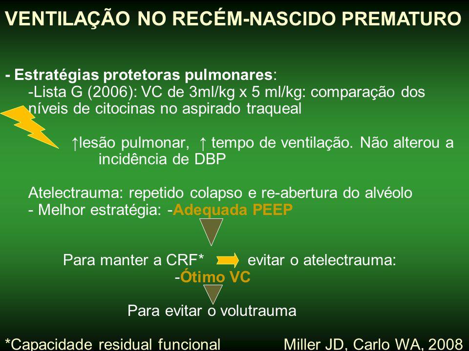 - Estratégias protetoras pulmonares: -Lista G (2006): VC de 3ml/kg x 5 ml/kg: comparação dos níveis de citocinas no aspirado traqueal ↑lesão pulmonar,