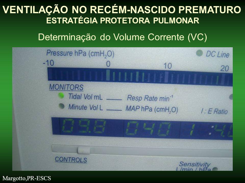 VENTILAÇÃO NO RECÉM- NASCIDO PREMATURO ESTRATÉGIA PROTETORA PULMONAR Determinação do Volume Corrente (VC) Margotto,PR-ESCS